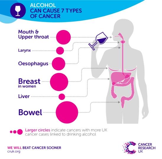 Алкоголь увеличивает риск рака