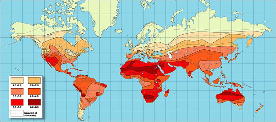 Солнечное облучение на карте стран мира
