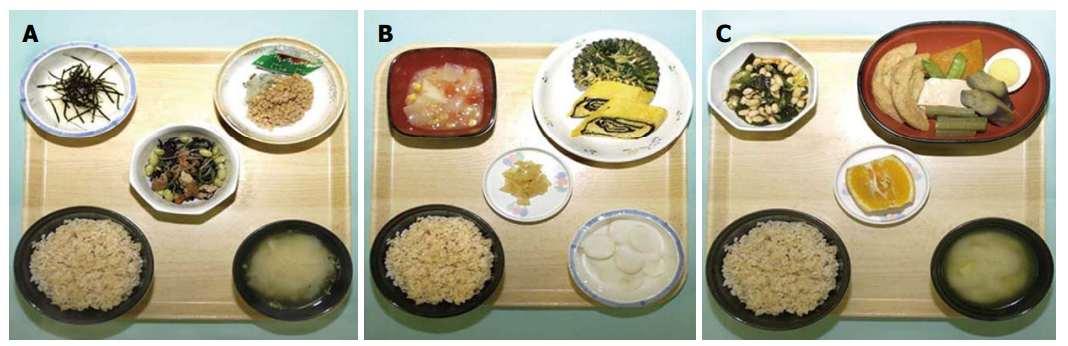 Разработанное меню диеты при болезни Крона: А) завтрак, В) обед, С) ужин.