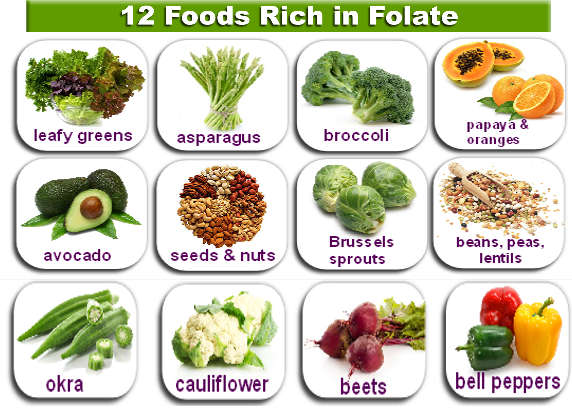 Продукты питания богатые фолиевой кислотой