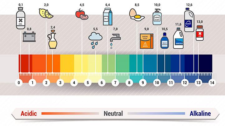 Уровень кислотности различных продуктов и товаров