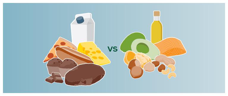 Ненасыщенные жиры полезнее насыщенных жиров