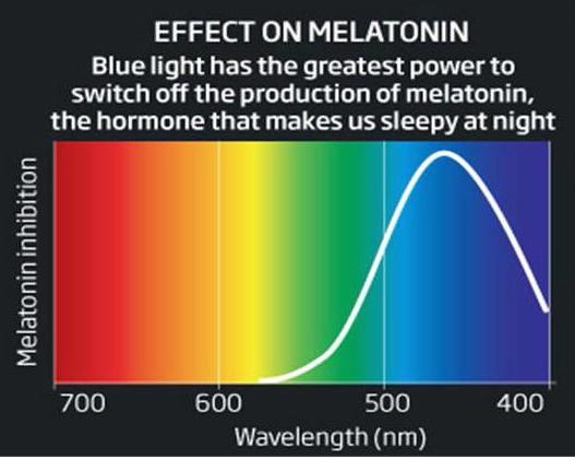 Синий свет подавляет выработку мелатонина