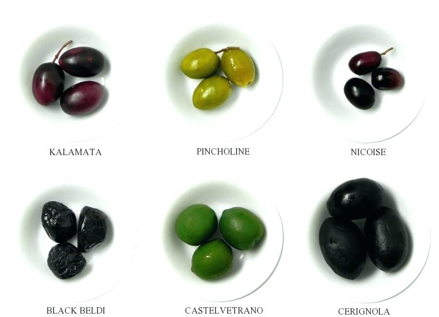 Разные сорта оливок