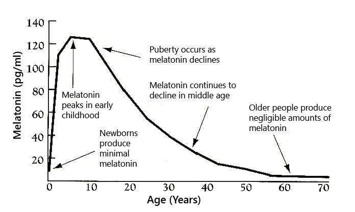Выработка мелатонина снижается с возрастом