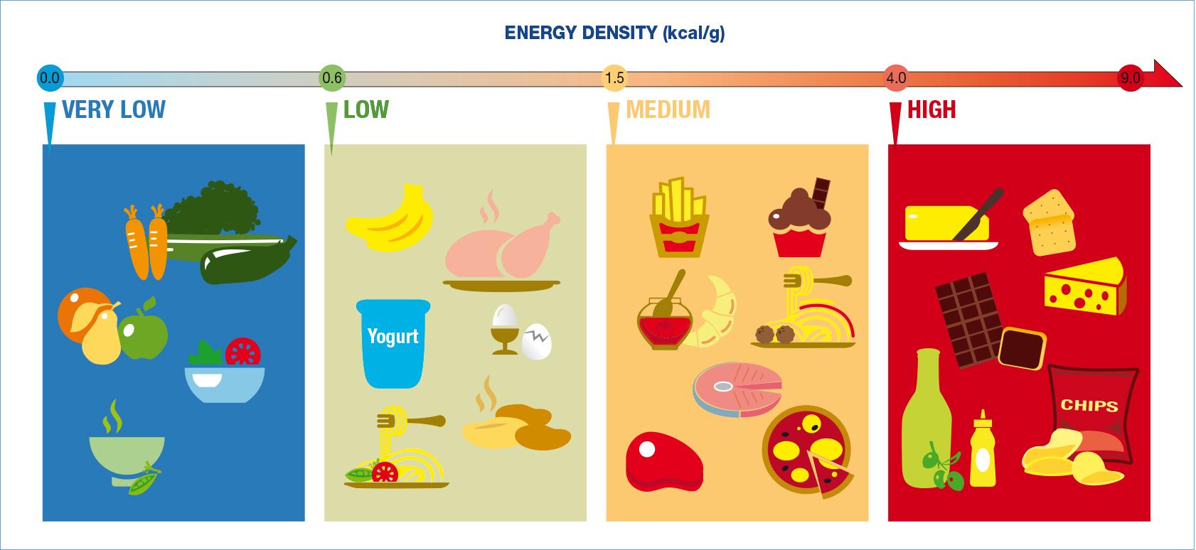 Продукты питания с разной энергетической плотностью