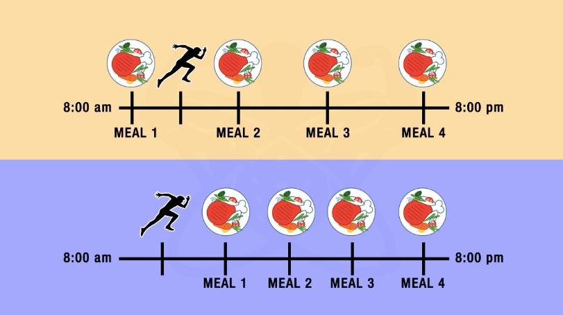 Тренировка натощак сокращает время приема пищи
